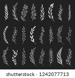 hand drawn set of floral  plant ... | Shutterstock .eps vector #1242077713