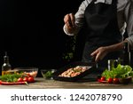 professional chef sprinkles... | Shutterstock . vector #1242078790