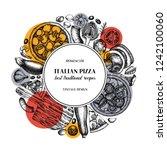 fast food art. vintage pizza... | Shutterstock .eps vector #1242100060