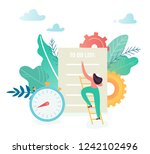 business woman with checklist.... | Shutterstock .eps vector #1242102496