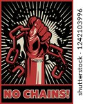 no chains  propaganda poster... | Shutterstock .eps vector #1242103996