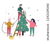 happy family is decorating a... | Shutterstock .eps vector #1242109240