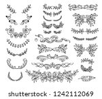 set of linear thin line art... | Shutterstock .eps vector #1242112069