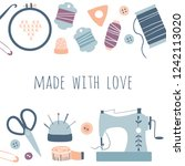 made with love. hobby tools... | Shutterstock .eps vector #1242113020