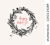 hand drawn ink christmas and... | Shutterstock .eps vector #1242114289