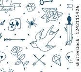 old school tattoos seamless... | Shutterstock .eps vector #1242115426