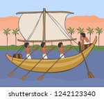 ancient egyptian boat with sail ... | Shutterstock .eps vector #1242123340