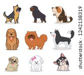 cute funny cartoon dogs vector. | Shutterstock .eps vector #1242138319