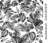 watercolor black and white... | Shutterstock . vector #1242181819