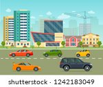 city life set with cars  road ... | Shutterstock .eps vector #1242183049
