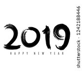 happy new year 2019. numbers of ... | Shutterstock .eps vector #1242188446