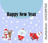 christmas card  santa snowman... | Shutterstock .eps vector #1242189763
