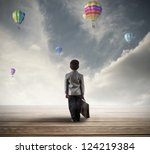 young hopeful businessman... | Shutterstock . vector #124219384