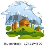 scenic landscape of farm...   Shutterstock .eps vector #1242194500