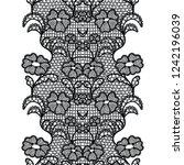 black lacy vintage elegant trim.... | Shutterstock .eps vector #1242196039