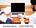 mockup  empty laptop screen....   Shutterstock . vector #1242198736