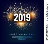 happy new year 2019 card...   Shutterstock .eps vector #1242216679
