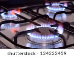 Closeup Shot Of Fire From Gas...