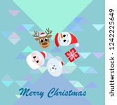 christmas card  santa snowman... | Shutterstock .eps vector #1242225649