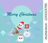 christmas card  santa snowman... | Shutterstock .eps vector #1242225700