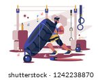 cross sport workout flat poster ... | Shutterstock .eps vector #1242238870