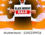 businessman hands holding blank ... | Shutterstock . vector #1242239926