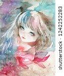 bright watercolor girl portrait.... | Shutterstock . vector #1242252283