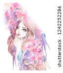 bright watercolor girl portrait.... | Shutterstock . vector #1242252286
