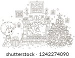 little boy with his gift near a ... | Shutterstock .eps vector #1242274090