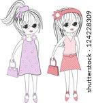 cute girls | Shutterstock .eps vector #124228309