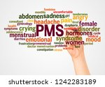 pms word cloud and hand with... | Shutterstock . vector #1242283189