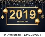 happy new year 2019 black... | Shutterstock .eps vector #1242289036