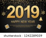 happy new year 2019 black... | Shutterstock .eps vector #1242289039