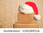 blank brown freight box with... | Shutterstock . vector #1242289216