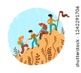 group of climbers helping each... | Shutterstock .eps vector #1242291706