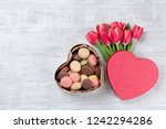 red tulip flowers bouquet and... | Shutterstock . vector #1242294286