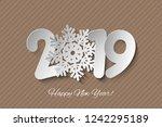 vector happy new year 2019... | Shutterstock .eps vector #1242295189