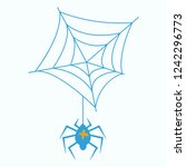 spider and torn web. scary...   Shutterstock .eps vector #1242296773