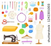 sewing vector tailor tools sew... | Shutterstock .eps vector #1242301003