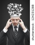 man with open minded and icons | Shutterstock . vector #124231288