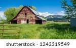 Old Red Barn With Mountain Vie...