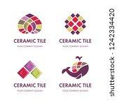 set of logos of ceramic tiles | Shutterstock .eps vector #1242334420
