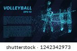 volleyball of blue glowing dots.... | Shutterstock .eps vector #1242342973