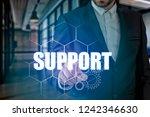 businessman hand touching...   Shutterstock . vector #1242346630