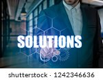 businessman hand touching...   Shutterstock . vector #1242346636