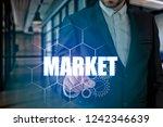 businessman hand touching...   Shutterstock . vector #1242346639
