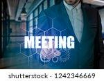 businessman hand touching...   Shutterstock . vector #1242346669