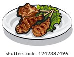 illustration of grilled lamb... | Shutterstock .eps vector #1242387496
