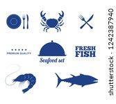 seafood set  vector... | Shutterstock .eps vector #1242387940