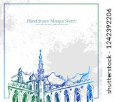 hand drawn mosque sketch... | Shutterstock .eps vector #1242392206